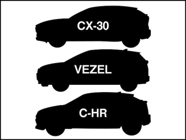 CX-30のライバルC-HRとヴェゼル比較